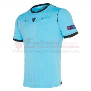 Maglia gara MACRON UEFA Referee manica corta NEON BLUE
