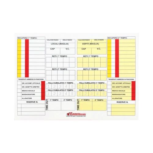 Cartoncini ricambio CALCIO a 5 (10 pz) per Taccuino Gara